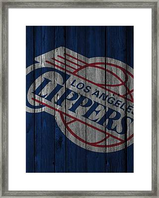 Los Angeles Clippers Wood Fence Framed Print by Joe Hamilton