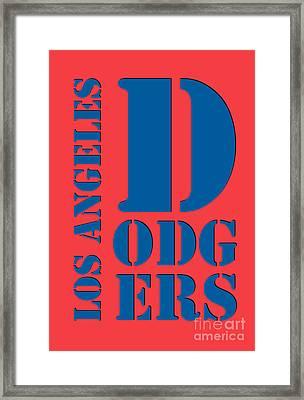 Los Angeles Dodgers Typography Orange Framed Print