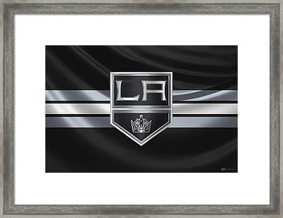 Los Angeles Kings - 3 D Badge Over Silk Flag Framed Print by Serge Averbukh
