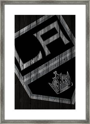 Los Angeles Kings Wood Fence Framed Print by Joe Hamilton