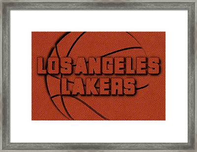 Los Angeles Lakers Leather Art Framed Print