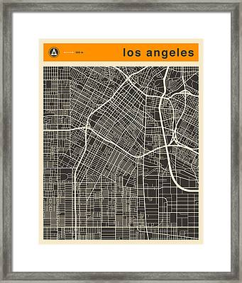 Los Angeles Map Framed Print by Jazzberry Blue