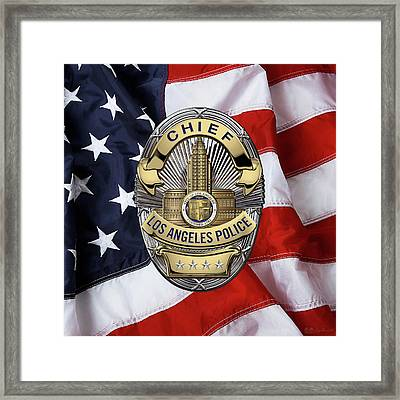Los Angeles Police Department  -  L A P D  Chief Badge Over American Flag Framed Print by Serge Averbukh