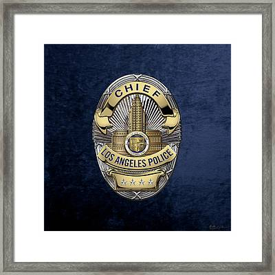 Los Angeles Police Department  -  L A P D  Chief Badge Over Blue Velvet Framed Print by Serge Averbukh