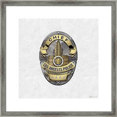 Los Angeles Police Department  -  L A P D  Chief Badge Over White Leather Framed Print by Serge Averbukh