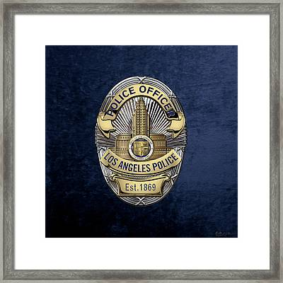 Los Angeles Police Department  -  L A P D  Police Officer Badge Over Blue Velvet Framed Print by Serge Averbukh