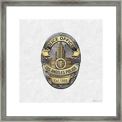 Los Angeles Police Department  -  L A P D  Police Officer Badge Over White Leather Framed Print by Serge Averbukh