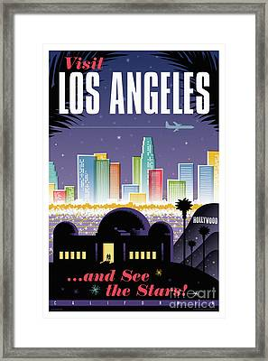 Los Angeles Retro Travel Poster Framed Print by Jim Zahniser