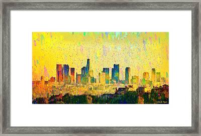 Los Angeles Skyline 1 - Da Framed Print by Leonardo Digenio