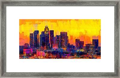 Los Angeles Skyline 101 - Pa Framed Print by Leonardo Digenio