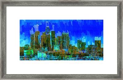 Los Angeles Skyline 102 - Pa Framed Print