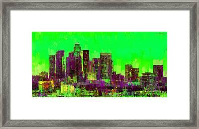 Los Angeles Skyline 105 - Pa Framed Print by Leonardo Digenio