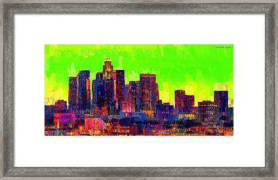 Los Angeles Skyline 107 - Pa Framed Print