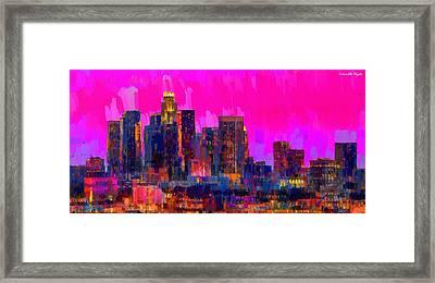 Los Angeles Skyline 110 - Da Framed Print by Leonardo Digenio