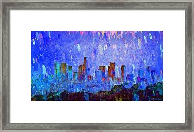 Los Angeles Skyline 2 - Da Framed Print by Leonardo Digenio