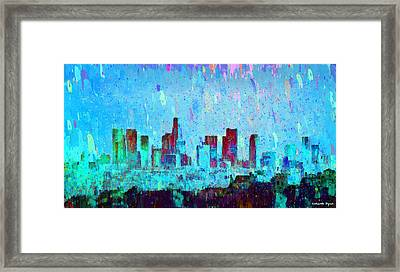 Los Angeles Skyline 4 - Pa Framed Print by Leonardo Digenio