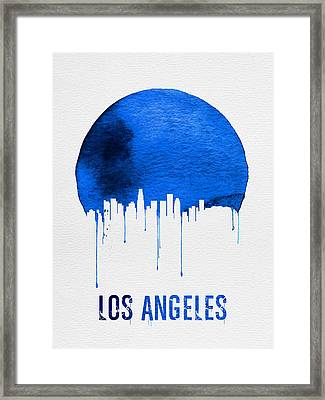 Los Angeles Skyline Blue Framed Print