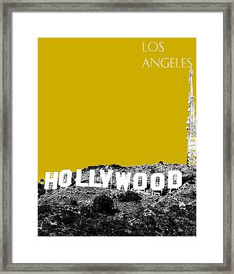 Los Angeles Skyline Hollywood - Gold Framed Print by DB Artist