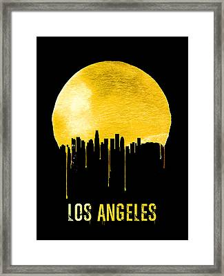 Los Angeles Skyline Yellow Framed Print