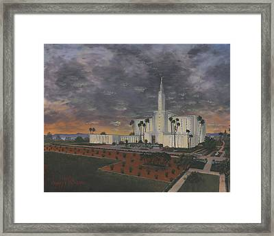 Los Angeles Temple Evening Framed Print by Jeff Brimley