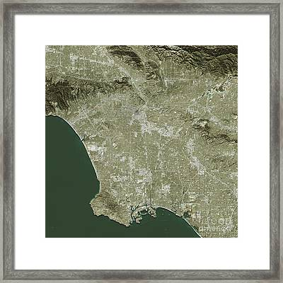 Los Angeles Topographic Map Natural Color Top View Framed Print by Frank Ramspott