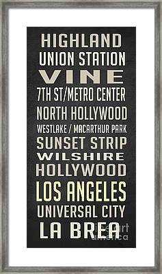 Los Angeles Vintage Places Poster Framed Print by Edward Fielding