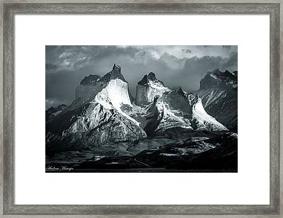 Los Cuernos In Black And White Framed Print by Andrew Matwijec