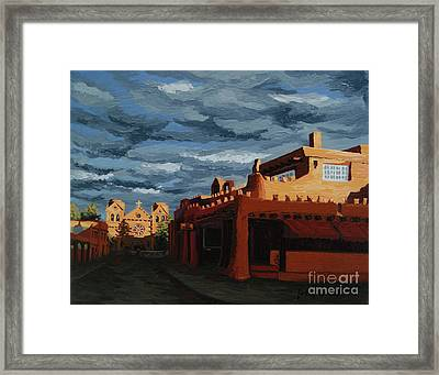 Framed Print featuring the painting Los Farolitos,the Lanterns, Santa Fe, Nm by Erin Fickert-Rowland