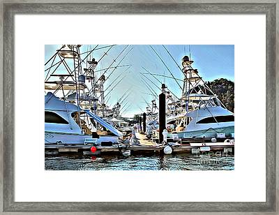 Los Suenos Dock Framed Print by Carey Chen