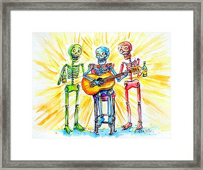Framed Print featuring the painting Los Tres Cantantes by Heather Calderon