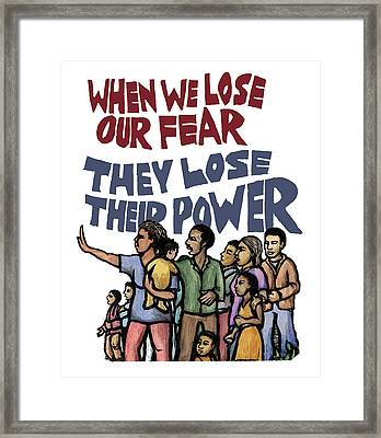 Lose Our Fear Framed Print by Ricardo Levins Morales