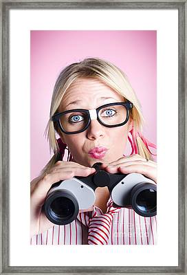 Lost Businesswoman Searching For Solution Framed Print by Jorgo Photography - Wall Art Gallery