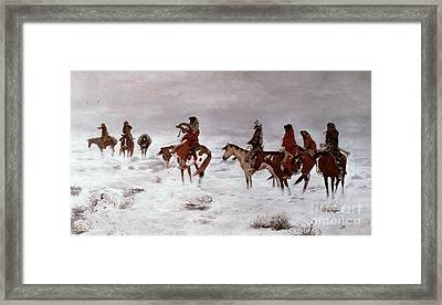 'lost In A Snow Storm - We Are Friends' Framed Print by Charles Marion Russell