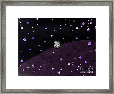 Lost In Midnight Charcoal Stars Framed Print