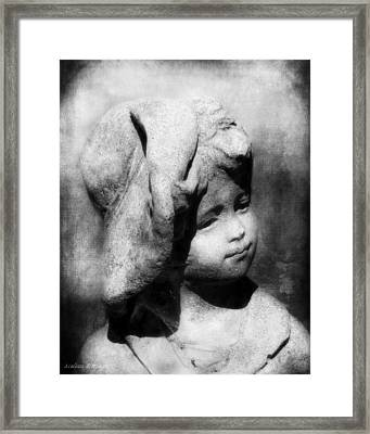 Lost In Thought Black And White Garden Statue, Little Boy With Hat Framed Print by Melissa Bittinger