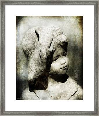Lost In Thought, Little Boy With Hat Garden Statue Framed Print by Melissa Bittinger