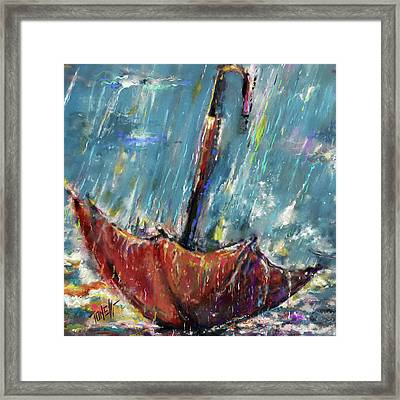 Lost Umbrella, Rain Framed Print
