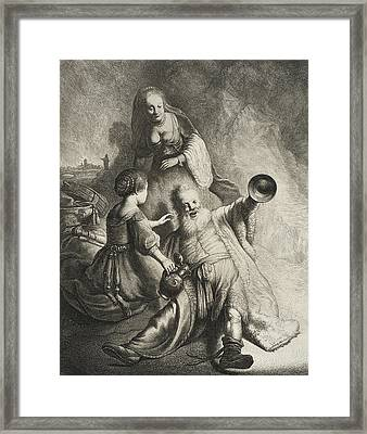 Lot And His Daughters Framed Print by Jan Georg van Vliet