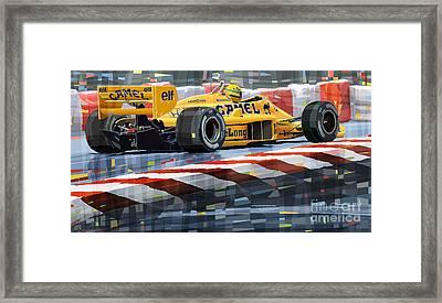 Lotus 99t 1987 Ayrton Senna Framed Print by Yuriy  Shevchuk