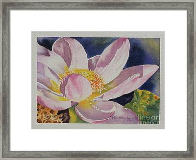 Framed Print featuring the painting Lotus Bloom by Mary Haley-Rocks