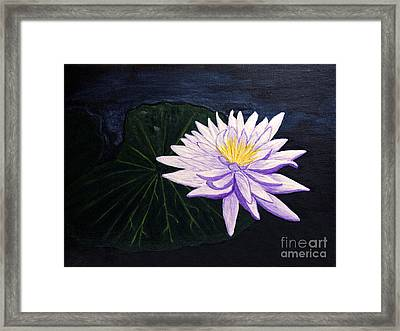 Framed Print featuring the painting Lotus Blossom At Night by Patricia Griffin Brett