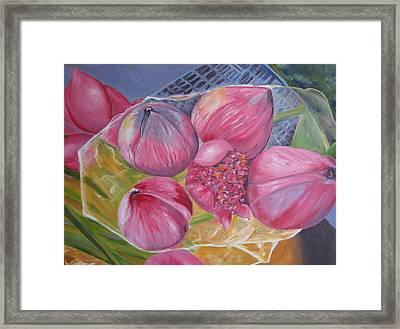 Lotus Buds Shanghai Market Framed Print by Lisa Boyd