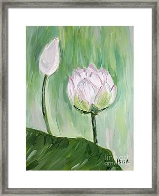 Framed Print featuring the painting Lotus Emerging by Maria Langgle