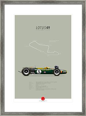 Lotus-ford 49 Graham Hill 1968 Framed Print by Last Corner