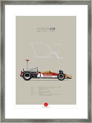 Lotus-ford 49b Graham Hill 1968 Framed Print by Last Corner