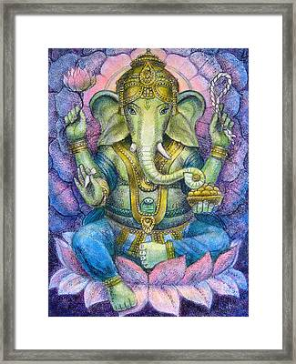 Lotus Ganesha Framed Print by Sue Halstenberg