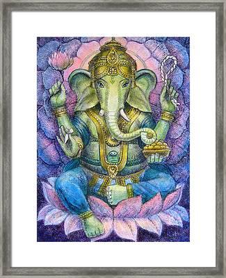 Lotus Ganesha Framed Print by Sue Halstenberg
