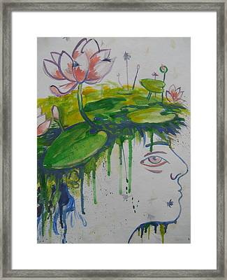 Framed Print featuring the painting Lotus Head by Tilly Strauss