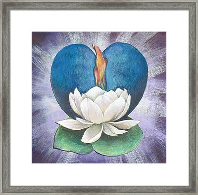 Lotus Heart Light Framed Print by Jo Thompson
