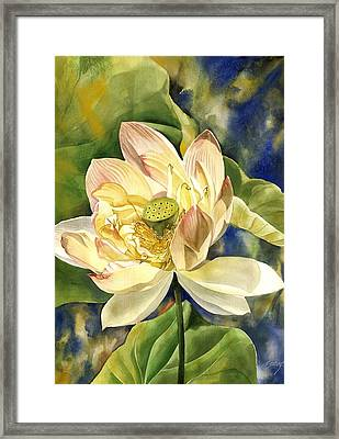 Framed Print featuring the painting Lotus In Blooms by Alfred Ng